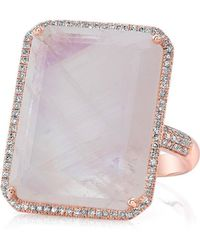 Anne Sisteron - 14kt Rose Gold Moonstone Diamond Rectangle Cocktail Ring - Lyst
