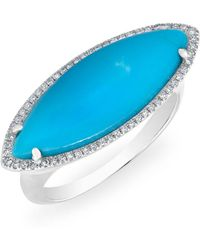 Anne Sisteron - 14kt White Gold Diamond Turquoise Marquis Ring - Lyst