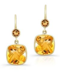 Anne Sisteron - 14kt Yellow Gold Citrine Cushion Cut Earrings - Lyst