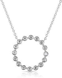 Anne Sisteron - 14kt White Gold Open Circle Bezel Set Diamond Necklace - Lyst