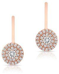 Anne Sisteron - 14kt Rose Gold Diamond Elegante Disc Wireback Earrings - Lyst