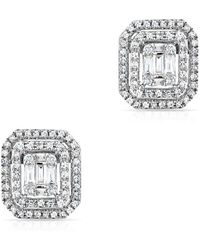 Anne Sisteron - 14kt White Gold Baguette Diamond Square Stud Earrings - Lyst