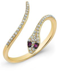 Anne Sisteron - 14kt Yellow Gold Diamond Slytherin Ring With Ruby Eyes - Lyst