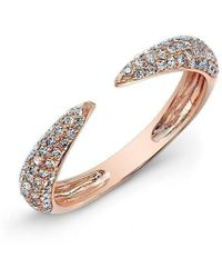 Anne Sisteron - 14kt Rose Gold Diamond Horn Pinkie Ring - Lyst