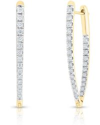 Anne Sisteron - 14kt Yellow Gold Diamond Luxe Drop Wishbone Earrings - Lyst