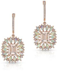 Anne Sisteron - 14kt Rose Gold Morganite Opal Diamond Giselle Earrings - Lyst
