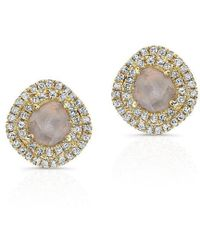 Anne Sisteron - 14kt Yellow Gold Diamond Slice Double Halo Stud Earrings - Lyst