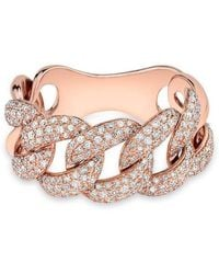 Anne Sisteron | 14kt Rose Gold Luxe Light Diamond Chain Link Ring | Lyst