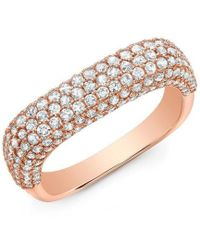 Anne Sisteron - 14kt Rose Gold Luxe Diamond Square Ring - Lyst