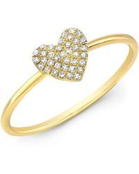 Anne Sisteron - 14kt Yellow Gold Diamond Valentine Heart Ring - Lyst