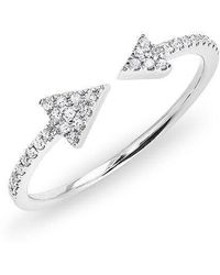 Anne Sisteron | 14kt White Gold Diamond Open Double Triangle Ring | Lyst