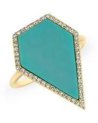 Anne Sisteron - 14kt Yellow Gold Diamond Turquoise Sophia Ring - Lyst