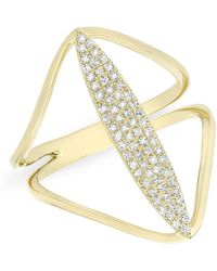 Anne Sisteron - 14kt Yellow Gold Diamond Petal Spear Ring - Lyst