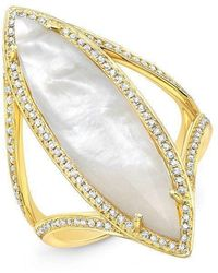 Anne Sisteron - 14kt Yellow Gold Mother Of Pearl Diamond Celeste Ring - Lyst