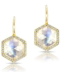 Anne Sisteron - 14kt Yellow Gold Diamond Moonstone Hexagon Earrings - Lyst