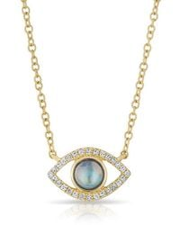 Anne Sisteron - 14kt Yellow Gold Diamond Open Moonstone Evil Eye Sukie Necklace - Lyst