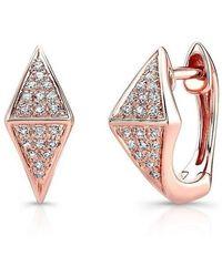Anne Sisteron - 14kt Rose Gold Diamond Double Triangle Huggie Earrings - Lyst