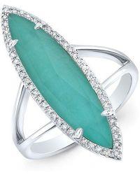 Anne Sisteron - 14kt White Gold Diamond Small Turquesa Ring - Lyst