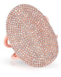 Anne Sisteron - 14kt Rose Gold Diamond Oval Armor Ring - Lyst