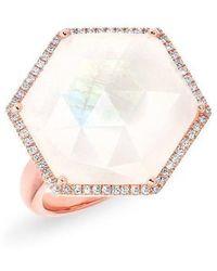 Anne Sisteron - 14kt Rose Gold Moonstone Diamond Hexagon Cocktail Ring - Lyst