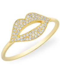 Anne Sisteron - 14kt Yellow Gold Diamond Lip Kiss Ring - Lyst