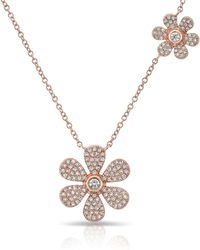 Anne Sisteron - 14kt Rose Gold Diamond Double Daisy Flower Necklace - Lyst