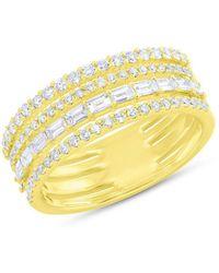 Anne Sisteron - 14kt Yellow Gold Diamond Baguette Eternity Ring - Lyst