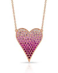 Anne Sisteron - 14kt Rose Gold Diamond Ombre Heart Necklace - Lyst