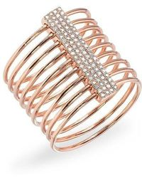 Anne Sisteron - 14kt Rose Gold And Oxidized Diamond Slink Ring - Lyst