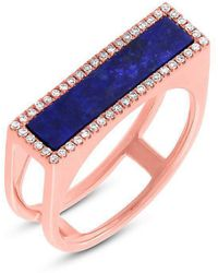 Anne Sisteron - 14kt Rose Gold Lapis Lazuli Diamond Bar Ring - Lyst
