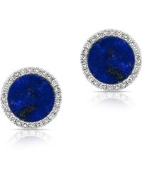 Anne Sisteron - 14kt White Gold Lapis Diamond Disc Stud Earrings - Lyst