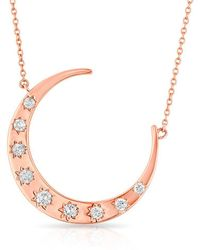 Anne Sisteron - 14kt Rose Gold Diamond Luxe Starlight Moon Necklace - Lyst