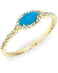 Anne Sisteron - 14kt White Gold Diamond Turquoise Mini Marquis Ring - Lyst