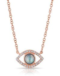 Anne Sisteron - 14kt Rose Gold Diamond Open Moonstone Evil Eye Sukie Necklace - Lyst