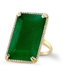 Anne Sisteron - 14kt Yellow Gold Emerald Diamond Rectangle Cocktail Ring - Lyst
