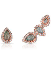 Anne Sisteron - 14kt Rose Gold Diamond Labradorite Stud And Climber Set Valis Earrings - Lyst
