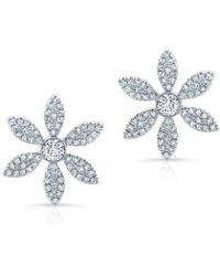 Anne Sisteron - 14kt White Gold Diamond Edgy Daisy Flower Stud Earrings - Lyst