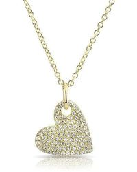 Anne Sisteron - 14kt Yellow Gold Hanging Heart Diamond Necklace - Lyst