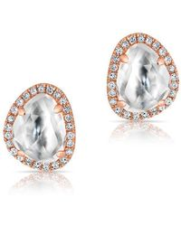 Anne Sisteron - 14kt Rose Gold Mini Organic Topaz Diamond Stud Earrings - Lyst