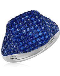 Anne Sisteron - 14kt White Gold Blue Sapphire Cushion Pinkie Ring - Lyst