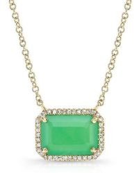 Anne Sisteron | 14kt Yellow Gold Chrysoprase Diamond Chic Necklace | Lyst