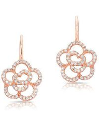 Anne Sisteron - 14kt Rose Gold Diamond Camellia Flower Wireback Earrings - Lyst