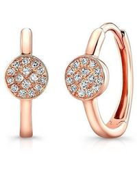 Anne Sisteron - 14kt Rose Gold Diamond St. Tropez Disc Huggie Earrings - Lyst