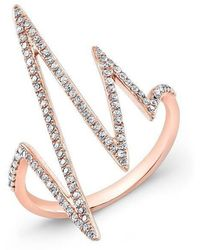 Anne Sisteron - 14kt Rose Gold Diamond Heartbeat Ring - Lyst