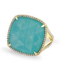 Anne Sisteron - 14kt Yellow Gold Diamond Turquoise Laguna Triplet Cushion Cut Cocktail Ring - Lyst