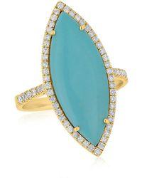 Anne Sisteron - 14kt Yellow Gold Diamond Josie Turquoise Marquis Ring - Lyst