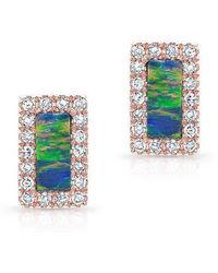 Anne Sisteron | 14kt Rose Gold Opal Diamond Bar Stud Earrings | Lyst