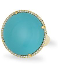 Anne Sisteron - 14kt Yellow Gold Diamond Turquoise Round Cocktail Ring - Lyst