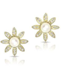 Anne Sisteron - 14kt Yellow Gold Pearl And Diamond Daisy Flower Stud Earrings - Lyst