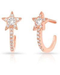 Anne Sisteron - 14kt Rose Gold Diamond Curved Star Huggie Earrings - Lyst